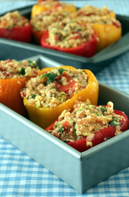 bell peppers feta stuffed peppers polenta stuffed peppers stuffed red ...